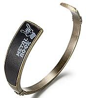WelMag Men's Genuine Leather Bracelet Adjustable Custom Engraving Cuff