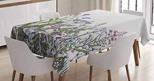 Ambesonne Spring Tablecloth, Colorful Thriving Garden with Herbs and Flowers Pattern Seasonal Rural Field Meadow, Dining Room Kitchen Rectangular Table Cover, 60 W X 84 L Inches, Multicolor