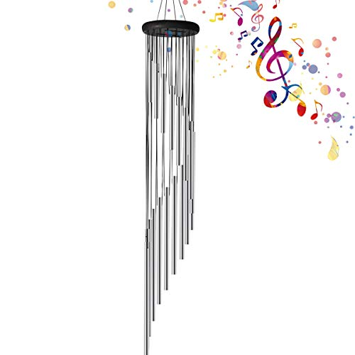Wind Chimes Outdoor - 35 Unique Amazing Grace Wind Chimes with 18 Roots Aluminum Tubes Windchimes for Garden Patio Backyard Indoor Decro (Silver)