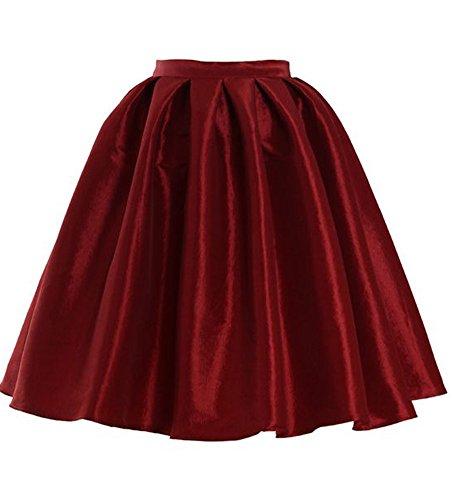 Omelas Women Short Pleated Flare Skater Full Skirt Satin Prom Party Skirts Dress