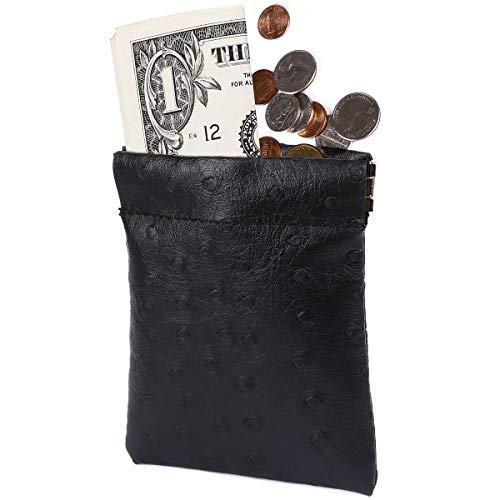 (amelleon Leather Coin Purse for Men & Women - Front Pocket Purse for Bill and Coins (Black-Large))