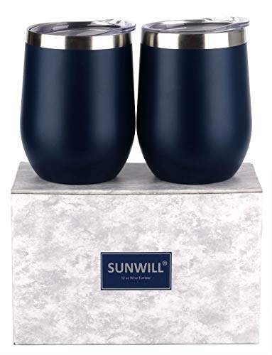 (SUNWILL Insulated Wine Tumbler with Lid Navy Blue 2 pack, Double Wall Stainless Steel Stemless Insulated Wine Glass 12oz, Durable Insulated Coffee Mug, for Champaign, Cocktail, Beer, Office)