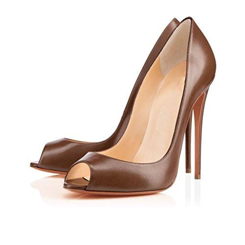 Arc-en-Ciel zapato de tacón alto peep toe zapato de las mujeres Marrón