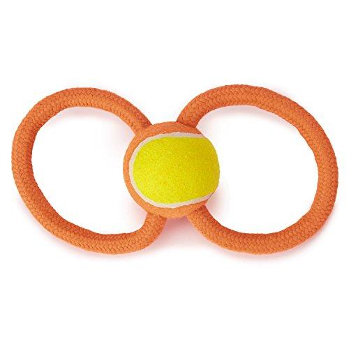 Grriggles Ruff Rope Figure Eight Dog Toys, Orange, 11.5