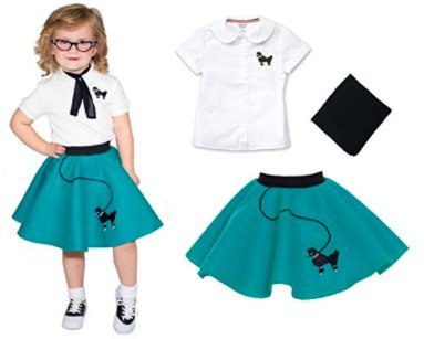 [Toddler 3 Piece Poodle Skirt Costume Set Teal 2T] (Greaser Girl Outfits)