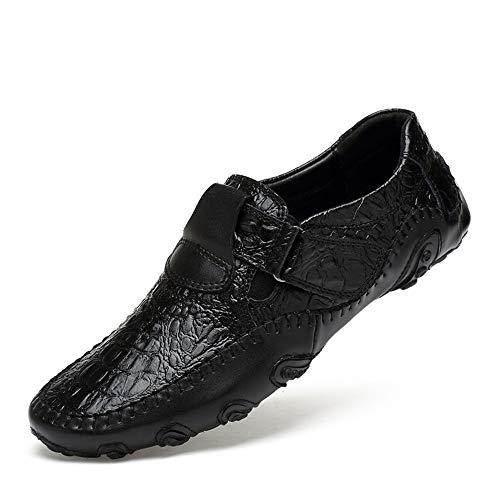 pelle modello 40 grandi in per suola EU ZHRUI fibbia uomo Nero Dimensione di vera dimensioni Nero morbida Scarpe coccodrillo mocassini Colore 8wxnq5SpB