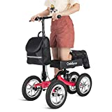 OasisSpace Damped All Terrain Knee Walker Scooter-with 12 Inches Durable Air Filled Wheels, Steerable Knee Walker Heavy Duty Crutches Alternative for Foot Injuries Ankles Surgery (Red)