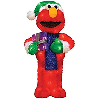 productworks 18 inch 3d pre lit sesame street waving elmo christmas yard decoration 35 lights 50164