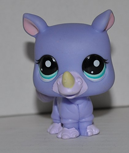 Rhino Rhinoceros #1908 (Purple, Aqua Blue Eyes) - Littlest Pet Shop (Retired) Collector Toy - LPS Collectible Replacement Single Figure - Loose (OOP Out of Package & Print) ()