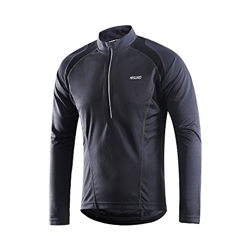 ARSUXEO Men's Half Zipper Cycling Jerseys Long Sleeves MTB Bike Shirts 6031 Gray Size X-Large ()