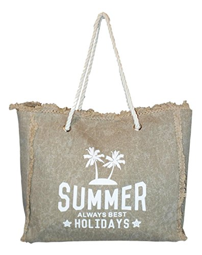Washed Canvas Summer All Best Holidays Fringe Beach Tote bag (Natural Beach Tote)