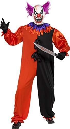 Clown Halloween Costume Uk (Smiffy's Men's Cirque Sinister Scary Bo Bo the Clown Costume, Jumpsuit and Mask, Cirque Sinister, Halloween, Size L, 33474)