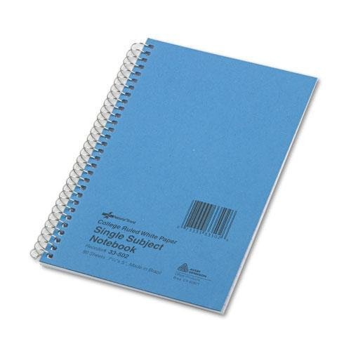 - National 33502 Subject Wirebound Notebook, College Rule, 7 3/4 x 5, White, 80 Sheets
