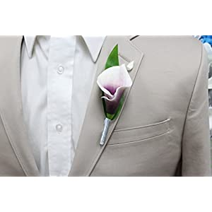 Angel Isabella Boutonniere-Real Touch Picasso Plum Hand-Made Keepsake Boutonniere Pearl Headed Pin Included (Silver Grey Ribbon Wrapped stem) 39