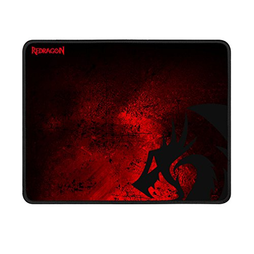 Large Gaming Mouse Pad P016 by Redragon Thick Black Red Cloth with Dragon Design Stitched Edges Waterproof Pixel-Perfect Accuracy Optimized for All Computer Mouse Sensitivity MMO and Sensors