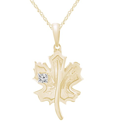 Pretty Jewels Genuine Diamond 0.06 Ct 10k Yellow Gold Finish 925 Silver Maple Leaf Pendant With 18