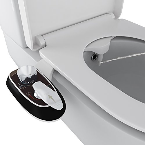 Homdox Adjustable Toilet Seat Attachment - Non-Electric Bidet - Dual Single Nozzle for Front & Rear(Male & Female) - Self Cleaning - Water Pressure Control - Easy Installation (Single Nozzle - Black) by Homdox