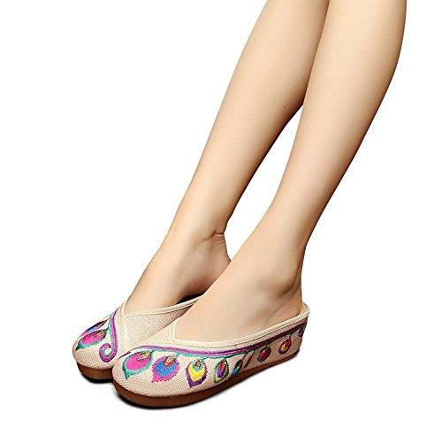 Lazutom - Zapatillas de estar por casa de Lona para mujer Beige