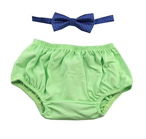 First Birthday Boy Outfit Includes Bloomer and Bow Tie (Light Green Bloomer and Royal Blue Bow)