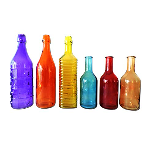 Colored Glass Bottles, 6 Piece Colorful Decorative Vintage Bottle Set for Outdoor Garden Bottle Tree or Indoor Home Decor from Growerology
