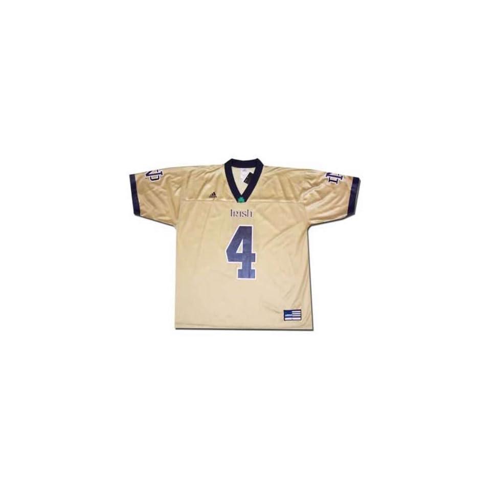 Adidas Notre Dame Fighting Irish #4 Gold Replica Football Jersey
