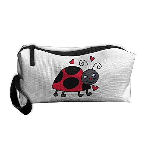 Cosmetic Bags With Zipper Makeup Bag Cute Ladybug Heart Middle Wallet Hangbag Wristlet Holder]()