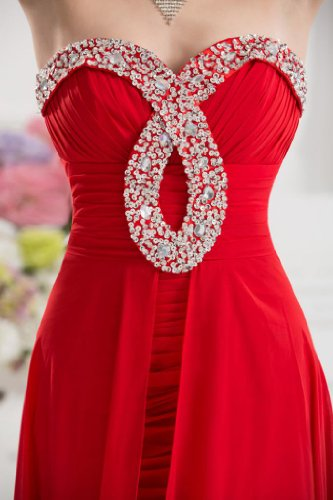 Design Blickfang BRIDE High Low Spezielle Abendkleid Rot GEORGE Ausschnitt qtFH5w