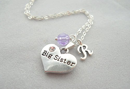 More Colors Big Sister Heart Pendant Necklace with Birthstone and Initial Big Sister in Training New Baby Congratulations