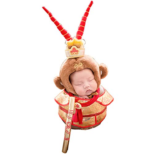 Cute Novelty Newborn Boy Girl Baby Costume Outfits Photography Props Crown Hat Pants Cosplay The Monkey King Gold