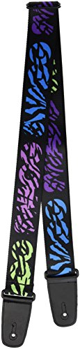 Buckle-Down 2 Inches Wide Guitar Strap - SWAGG Black/Zebra Multi Neon (GS-W34511)