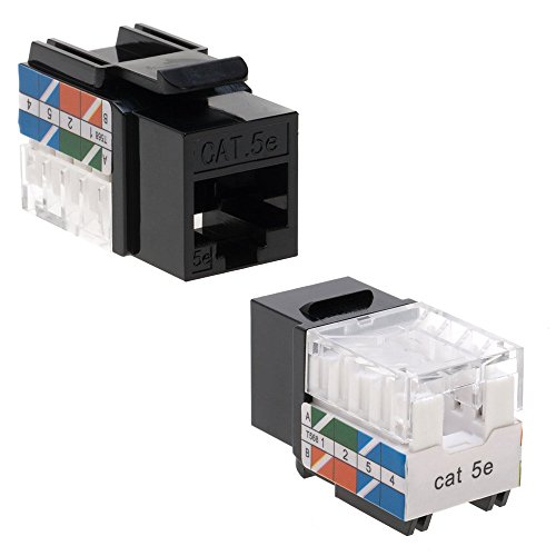 Cat5 RJ45 Keystone Jack Cat5e Punch-Down Network Black (5) (Cat5e Keystone Jack)