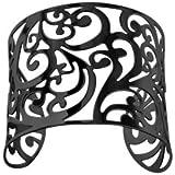 1001 Bijoux - Bracelet acier manchette arabesque PVD noir