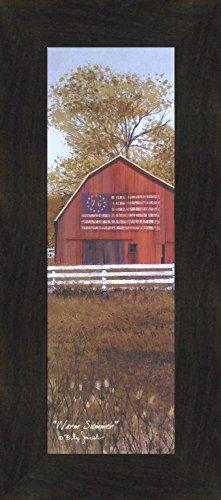 Warm Summer by Billy Jacobs 10x22 '76 Bicentennial Flag Barn Fence Seasons Framed Folk Art Print Picture (2