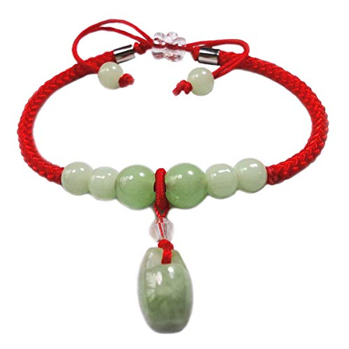 BrightTea Jade Lucky Rope Strap Lucky red rope Jade beads Chinese Feng Shui Pendant (Packaging ()