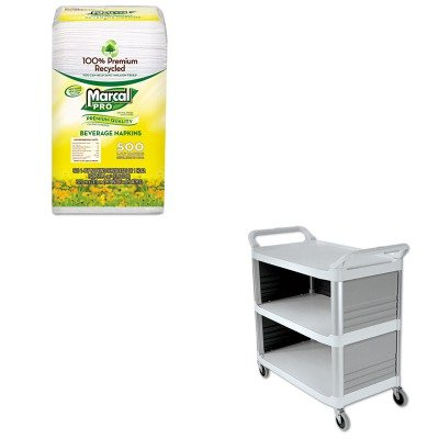 KITMRC28CTRCP4093CRE - Value Kit - Rubbermaid-Cream X Tra Three Shelf Bussing Cart, Enclosed On 3 Sides (RCP4093CRE) and MarcalPro 100% Recycled Beverage Napkins (MRC28CT) by Rubbermaid