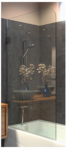 Ark Showers Frameless Bathtub Shower Screen, Pivot Door, 70 X 33.5, 5/16 (8mm) Glass With Round Top Corner, Oil Rubbed Bronze Hinges. Model ()