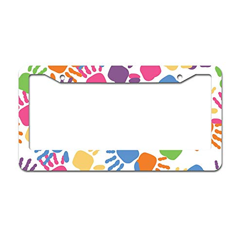 Frame Child Dub Dub (Promini Abstract Kids Hands Childrens Day Aluminum License Plate Frame Auto Car Tag Frame with 2 Holes 12 x 6 inches)