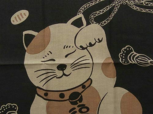 Hand Towel Tenugui from Japan Kaiuntei Maneki-Neko Beckoning cat Engi Bring Luck