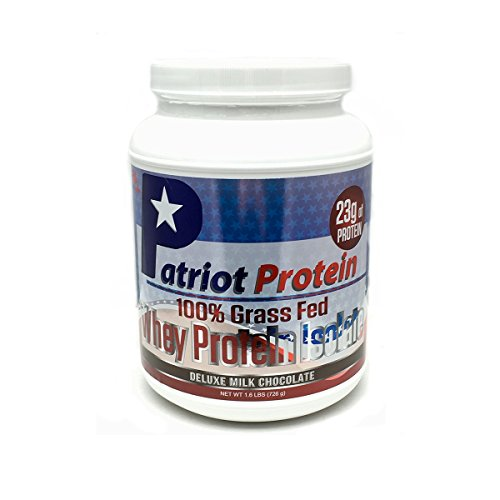 Patriot Protein – Grass Fed Whey Protein Isolate- Protein Powder – Premium Protein Made in the USA- Deluxe Milk Chocolate- 25 Servings- 1.6 Pounds