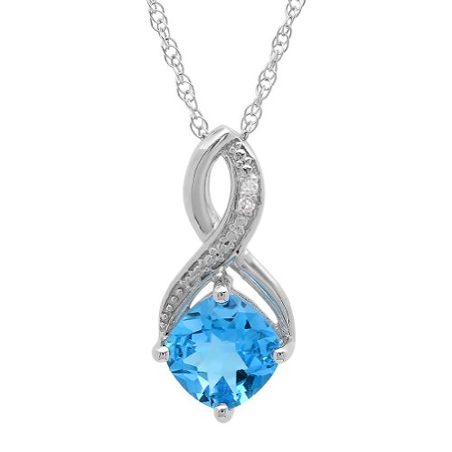 Swiss Blue Topaz and Diamond Pendant-Necklace in Sterling Silver (1 3/4ct tgw) - Topaz Diamond Pendant Necklace