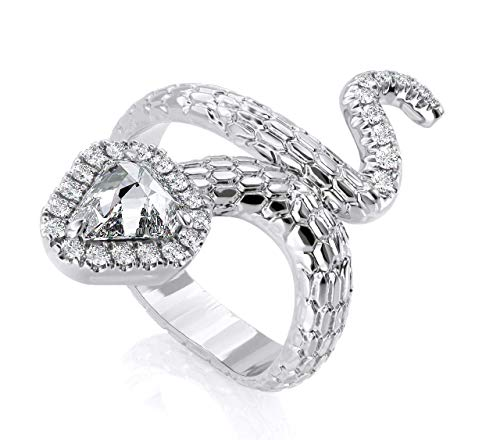 Jewlery By BrunoTrillion Round Cut White Anniversary Natural Diamond Band Snake Ring in 18k Solid White Gold (0.80 cttw) ()