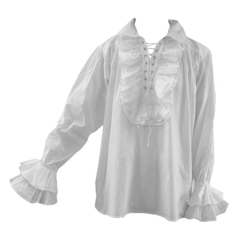 Goth Men 80S Eighties New Romantic Frilly Pirate Shirt White L Longsleeve (Burlesque Clothing Men)