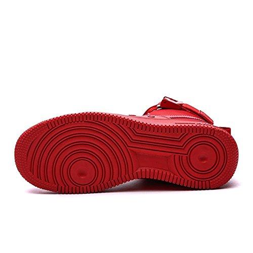 Scarpe piatte scarpe sportive Scarpe da corsa Scarpe da passeggio Scarpe da uomo traspirante Assorbimento degli urti High-top Sport all'aria aperta Usura antiscivolo , Red , UK 8 / EU 42
