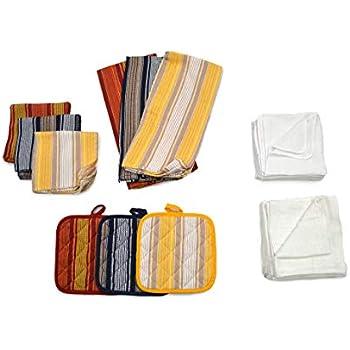 Eva's Choice A42061 Sierra Kitchen Towel Set, 100% Cotton, Assorted Sizes, Assorted Colors, Assortment of 24