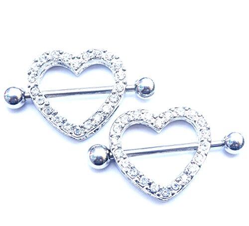 2PCS Nipple rings Heart shape Nickel fre