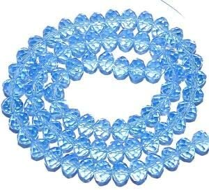 """CR437 Light Sapphire Blue 8mm Rondelle Faceted Cut Crystal Glass Bead 16/"""""""