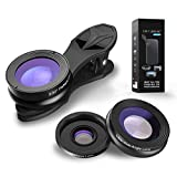 Carriemeow 3in1 Cell Phone Camera Lens Kit Wide Angle&Macro Lens 230° Eyefish Lens for Most Smartphones and Tablets (Color : Black)