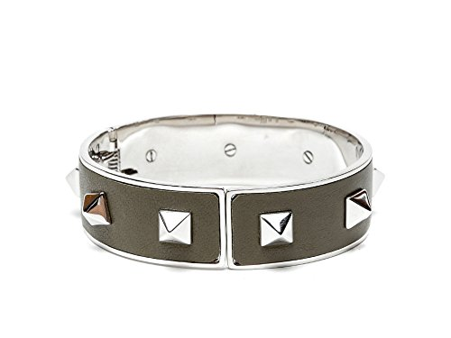Wiberlux Valentino Women's Silver Stud Detail Steel Cuff Bracelet One Size Olive by Wiberlux (Image #2)