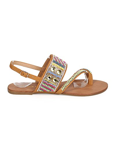 Nouvelle Mode Féminine Perlée Boho Slingback Toe Anneau Sandale Chaussures Nouvelle Sans Boîte Cognac