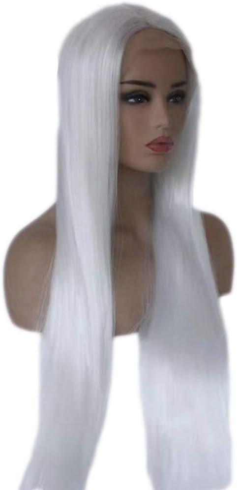 Peluca Peluca Delantera de Encaje Peluca Blanca Recta de Pelo Largo y Liso Peluca Blanca de Encaje Delantera Peluca Naturalmente Realista (Tamaño : 20inches): Amazon.es: Hogar